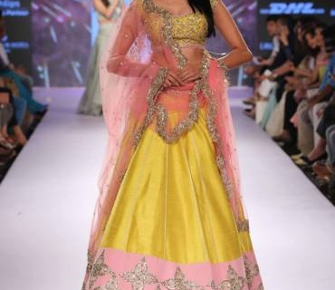 Sunflower Yellow, Bubblegum Pink & Cool Mint  for Anushree Reddy at Anushree Reddy LFW SR 2015
