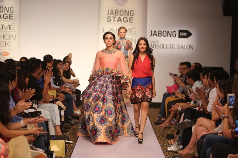Actress Karishma Kapoor for Neha Agarwal at Lakme fashion week 2015
