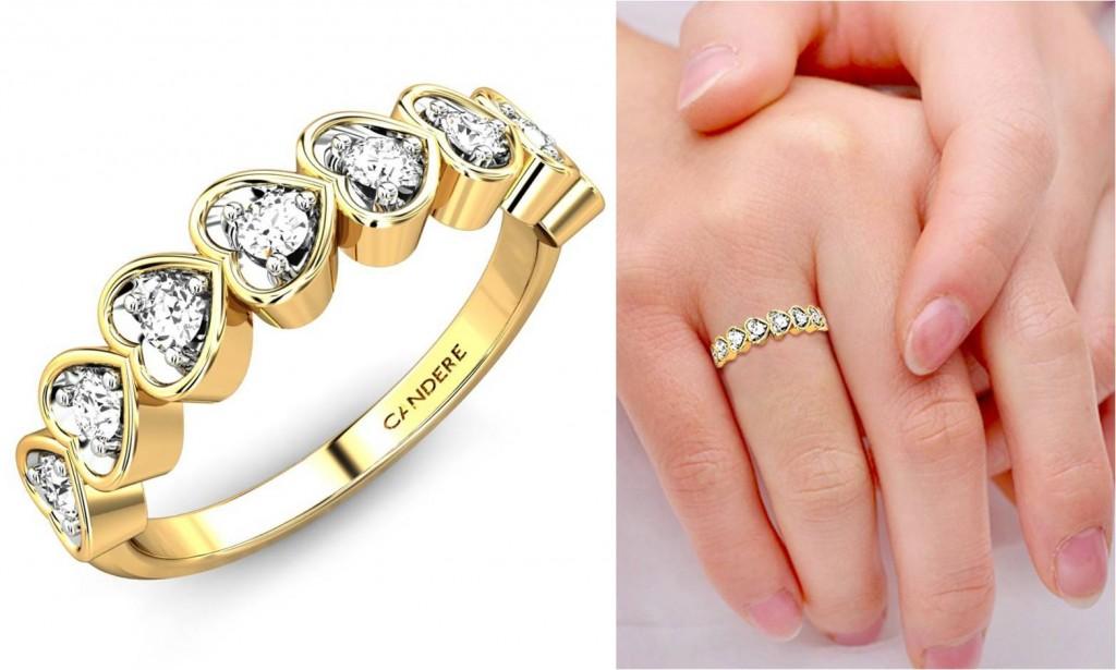 Delicately designed band diamond rings - enegagement rings