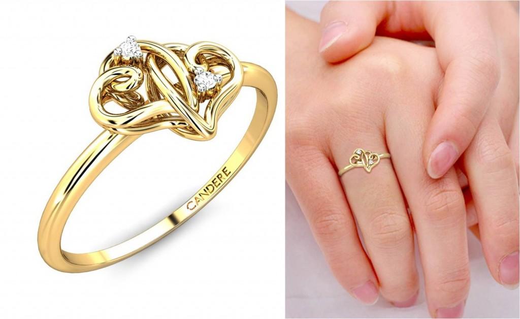 Diamond heart shaped love rings for valentine