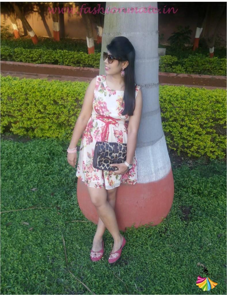 Floral summer dress leopard print bag & cateye glasses trends 2015