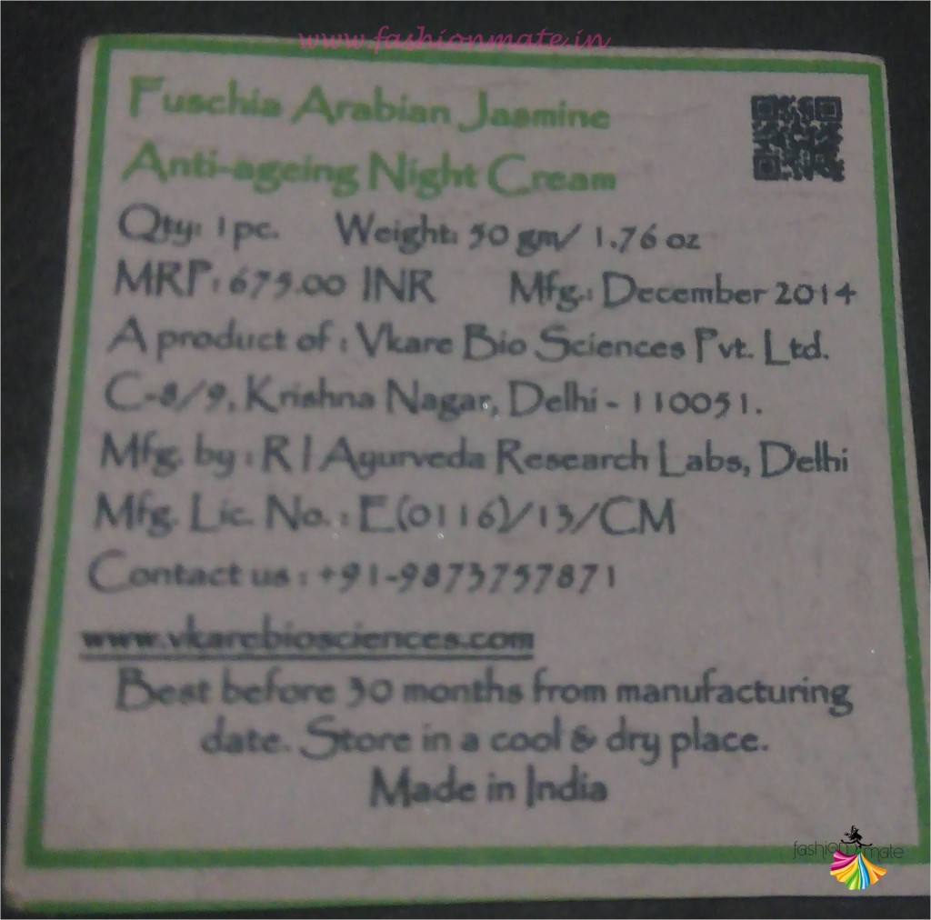 Fuschia Arabian Jasmine Anti Aging Night Cream review by Fashionmate blog