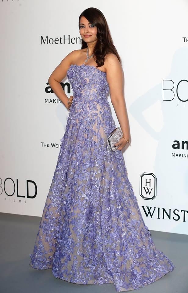 Aishwarya Rai in lavender Ellie Saab gown for amfar at cannes 2015
