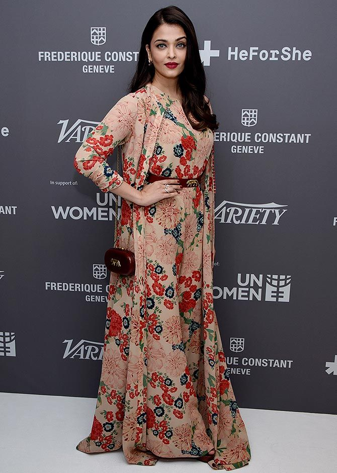 Aishwarya Rai Bachchan in floral jumpsuit by Sabyasachi cannes 2015