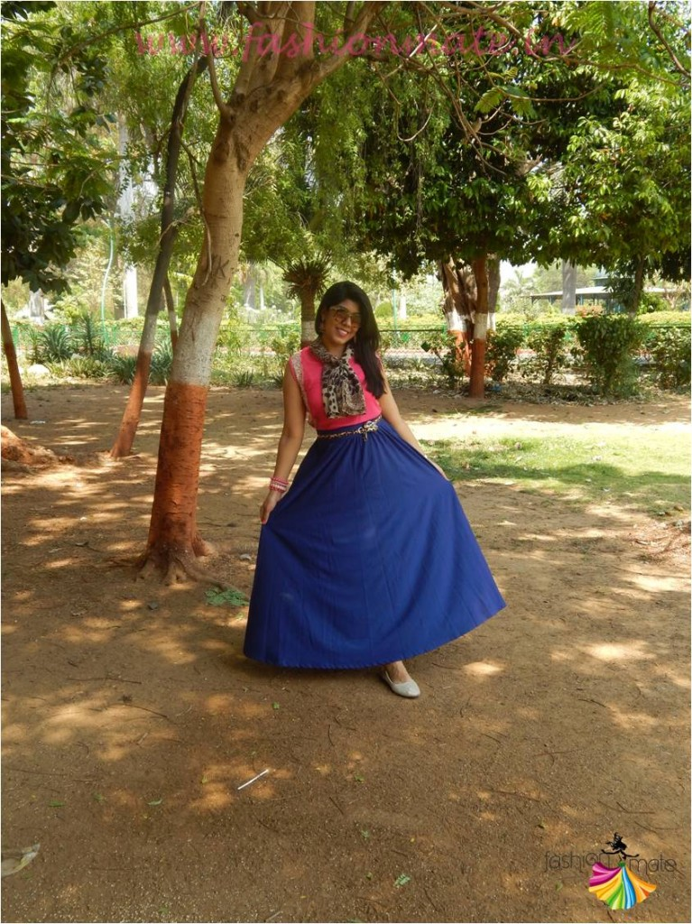 Blue flowy skirt outfit of the day styled by fashionmate
