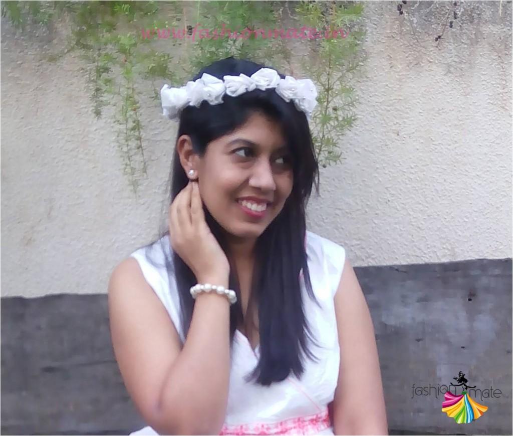 DIY white floral crown online for wedding
