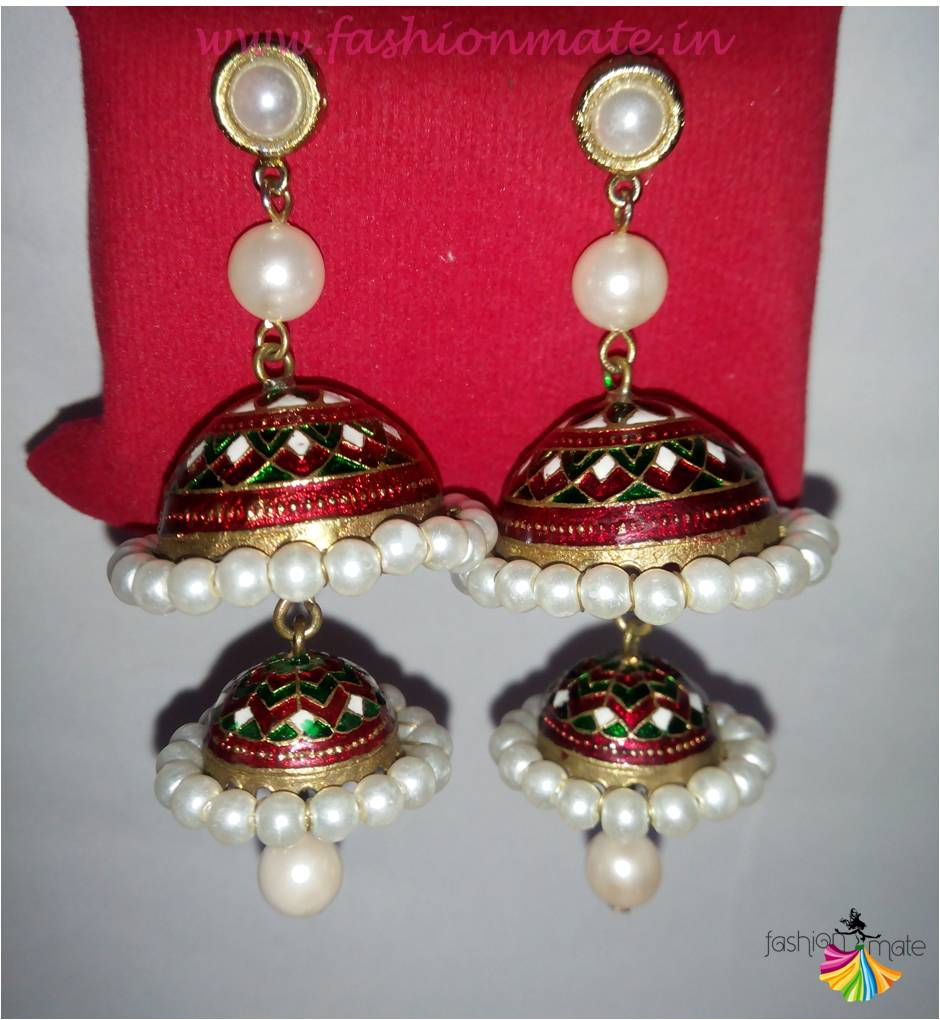 Traditional lac earrings jaipuri accessories fashion 2015