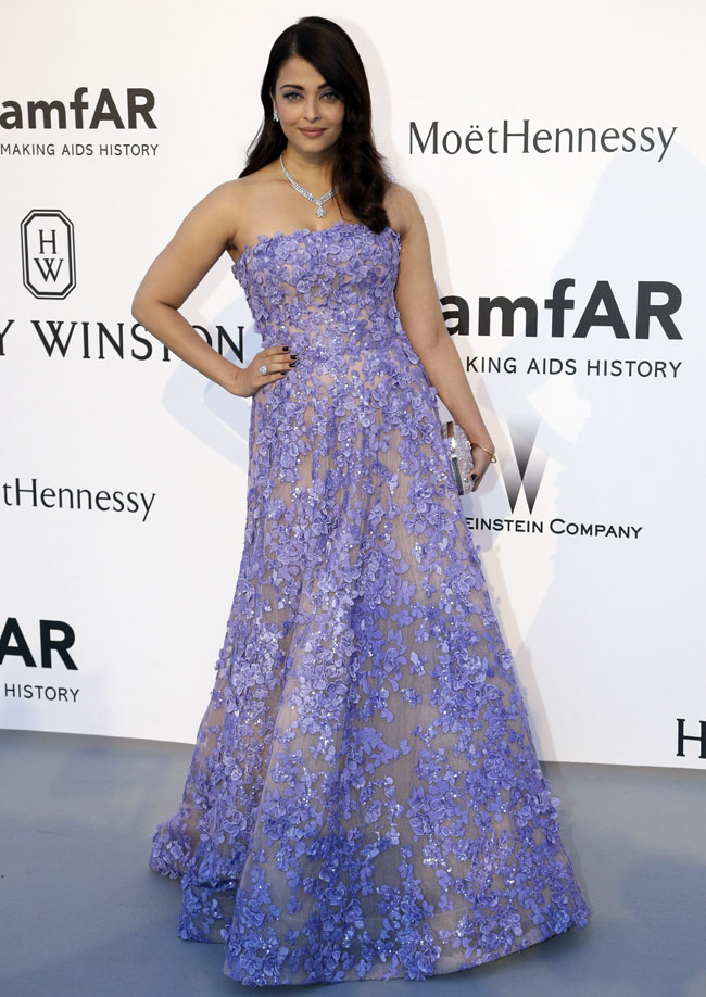 Aishwarya Rai Bachchan in lavender Elie Saab gown for Cannes 2015