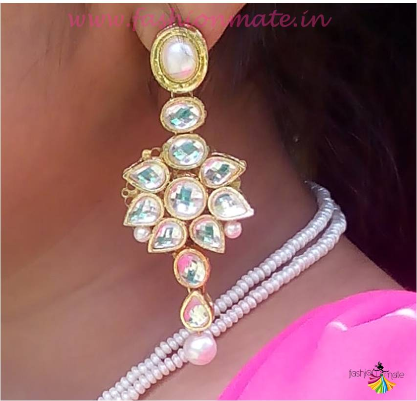 Indian bridal jewellery - exquisite kundan & pearl earrings from confusion fashion accesories