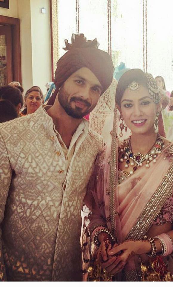 Shahid Kapoor with wife Mira Rajput Wedding lehenga by Anamika Khanna