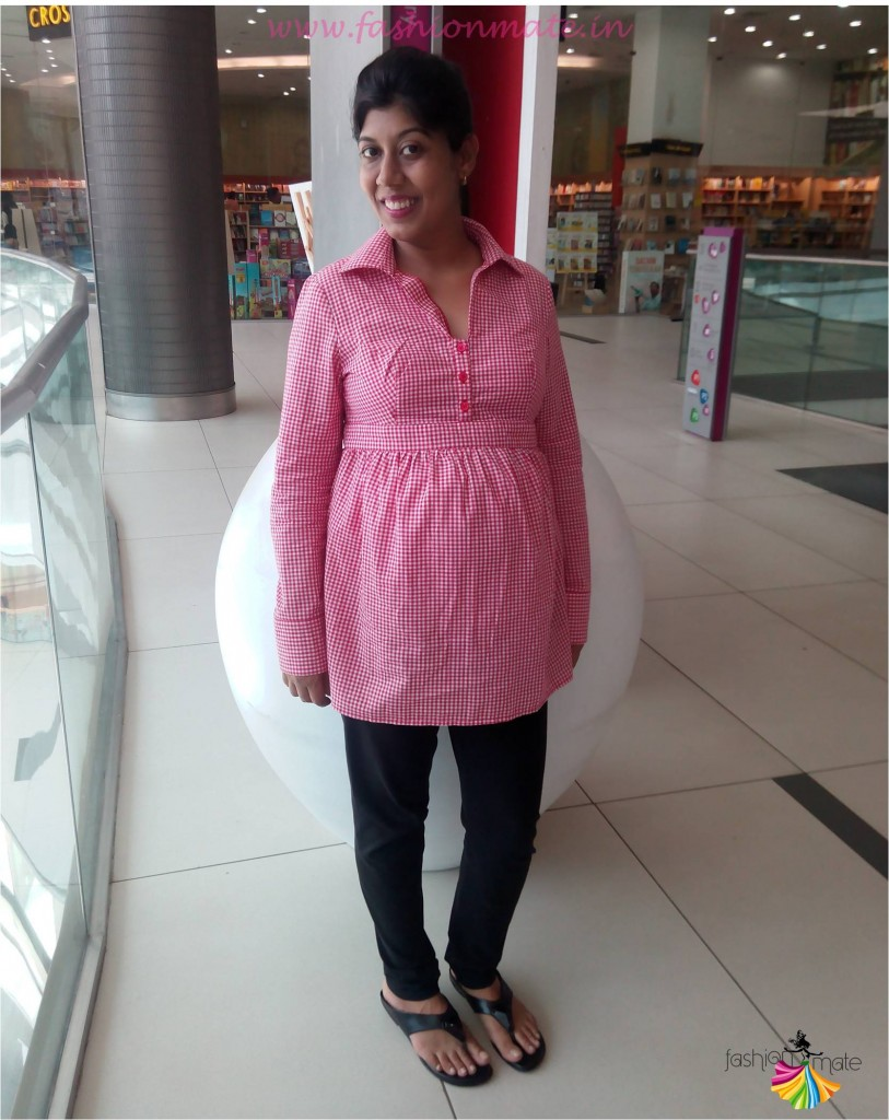 Gingham shirt maternity leggings cheap pregnancy outfits in india