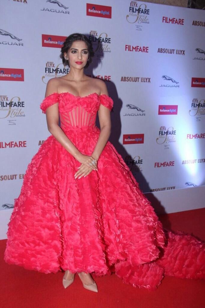 Sonam Kapoor in Red off shoulder cinderella dress