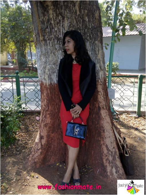 Classic Red Dress with black fur coat for Valentines day
