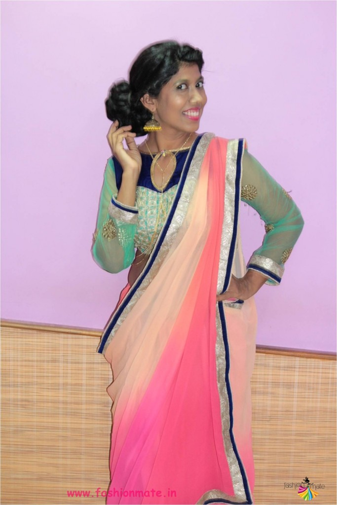 Standard Saree drape with a pleated dupatta. Keep it chic and elegant wearing your dupatta on one shoulder and holding it in a loose drape across the wrist. This is great if you want to show off a neckline and still keep the dupatta visible.