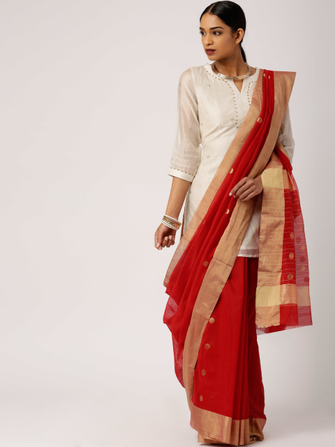 Saree with Cotton Kurta - Different ways to drape saree