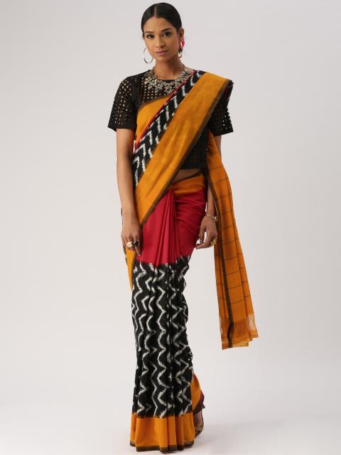handloom cotton saree with mesh crop top - Different ways to wear cotton saree