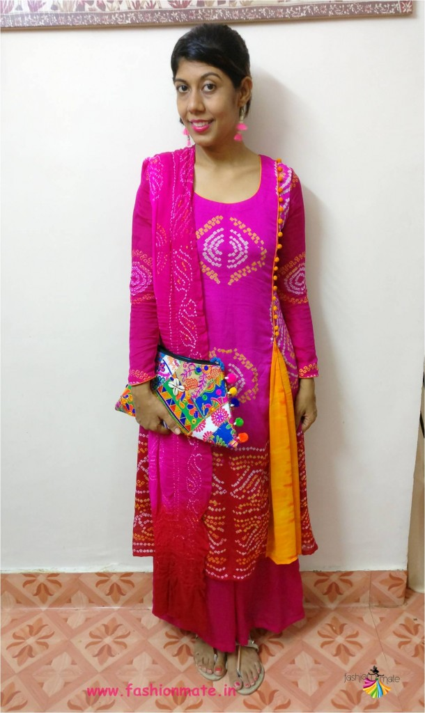 latest bandhani dress neck pattern - Indian traditional fashion