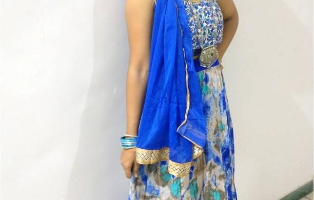 Navratri Day 3 Blue colour – Grey Blue festive Choli ghagra!