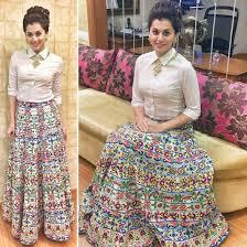 shirt with lehenga - edgy navratri outfits 2017