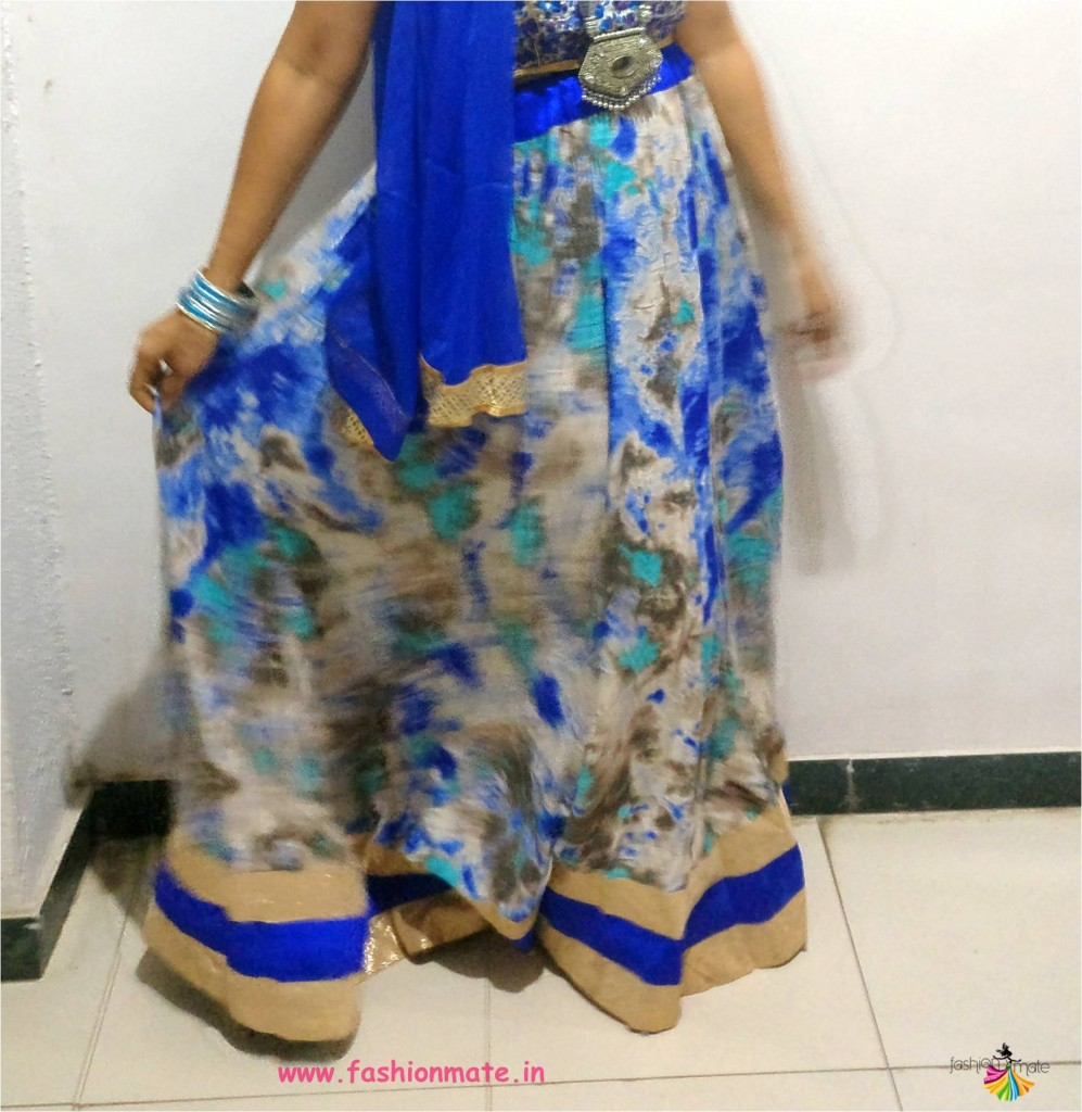 ethnic blue and grey lehenga for navratri 2018