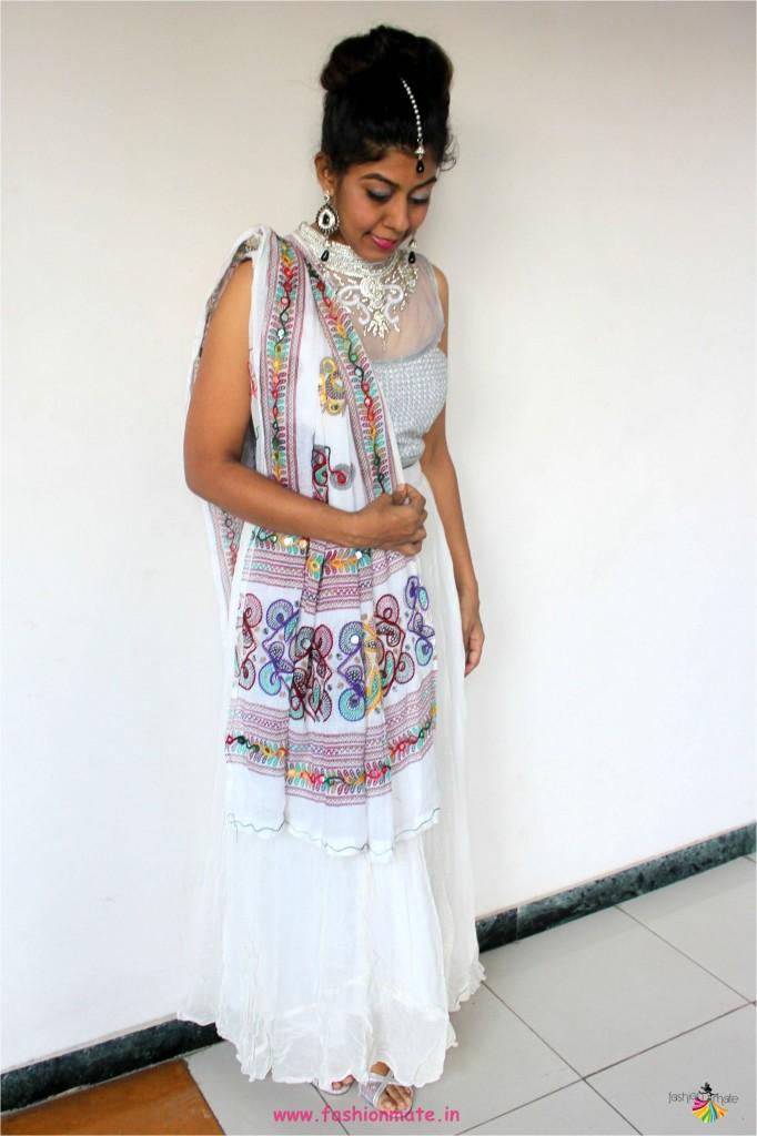 navratri fashion trends 2017 - white chaniya choli ootd