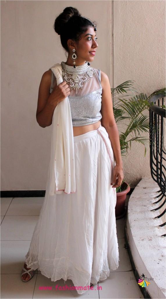 navratri fashion trends - white colour chaniya choli