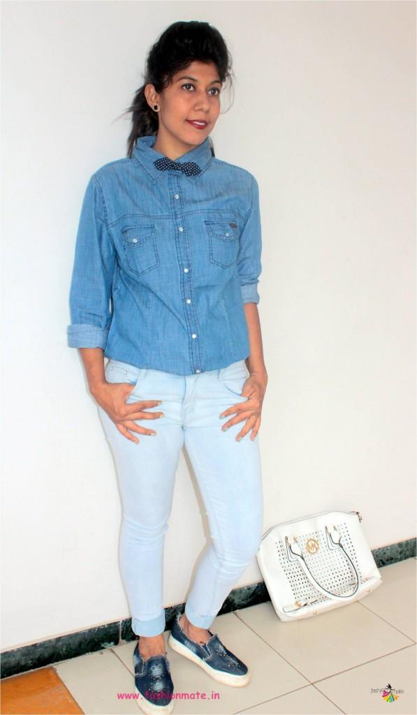 Denim on denim formal wear fashion trend