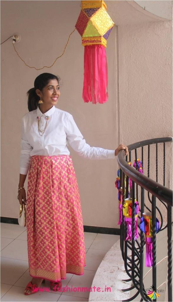 Dhanteras 2017 - Diwali festive outfit Banarasi skirt with Shirt