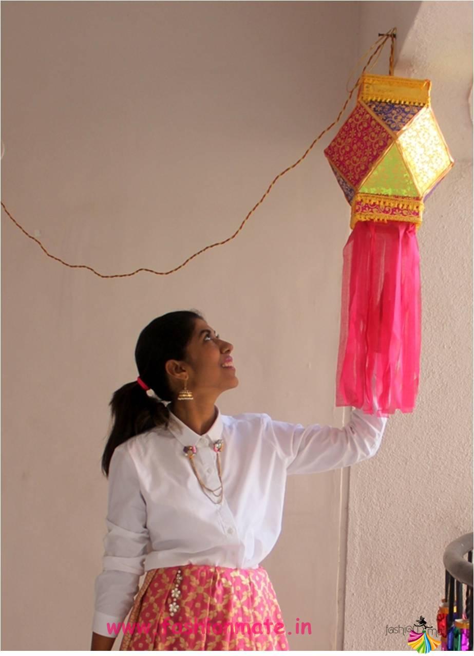 Diwali festive day look for Dhanteras - Shirt + Ghagra