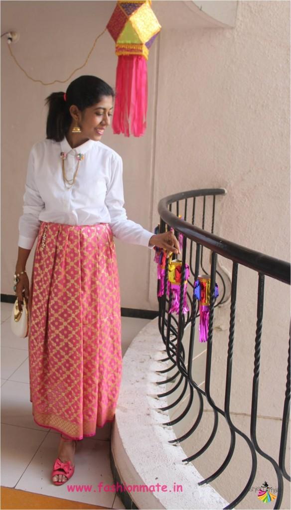 Diwali festive fashion indowestern ootd - Banarasi skirt + formal shirt