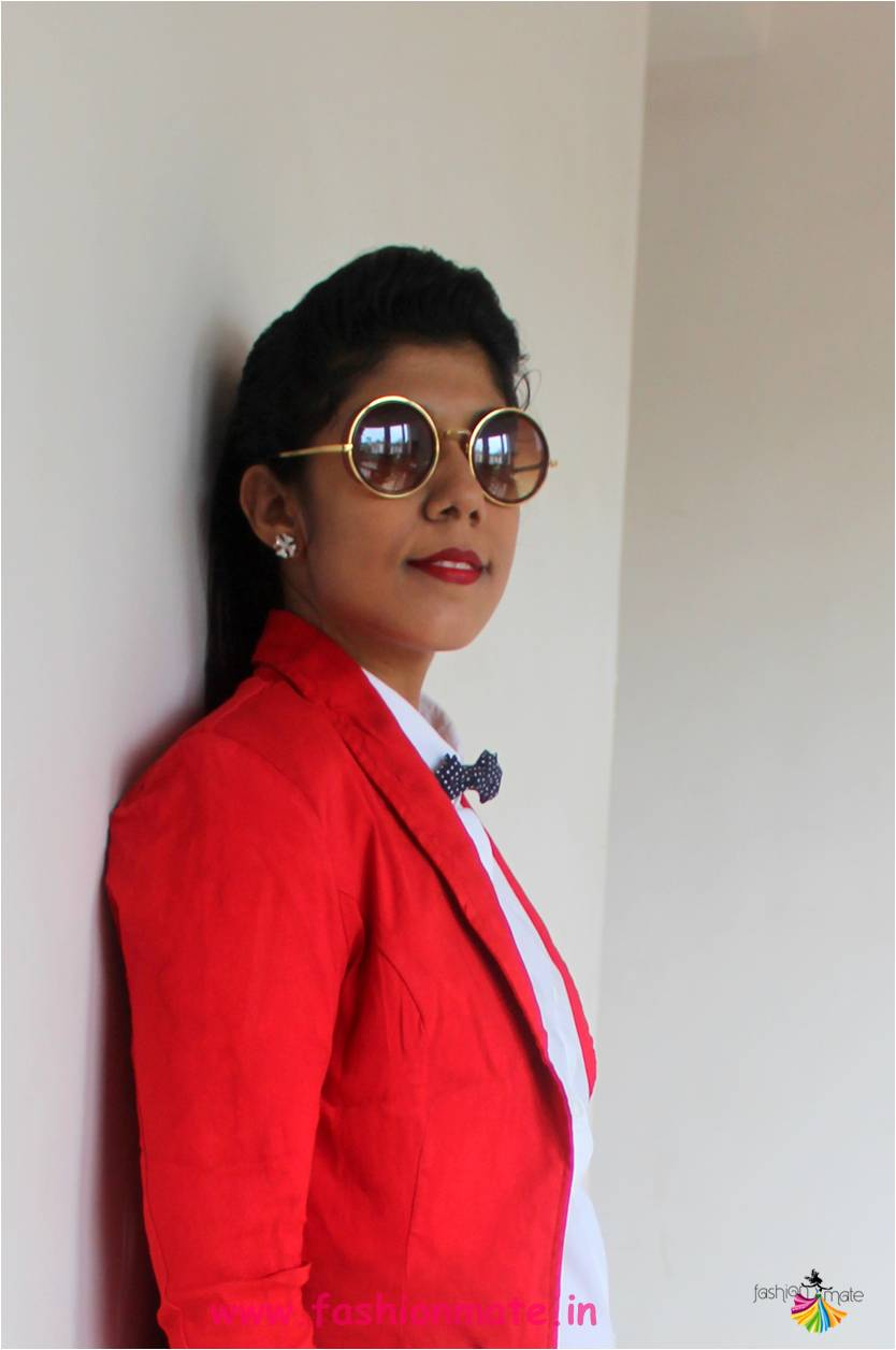 Indian fashion blogger - bow-tie and pantsuit