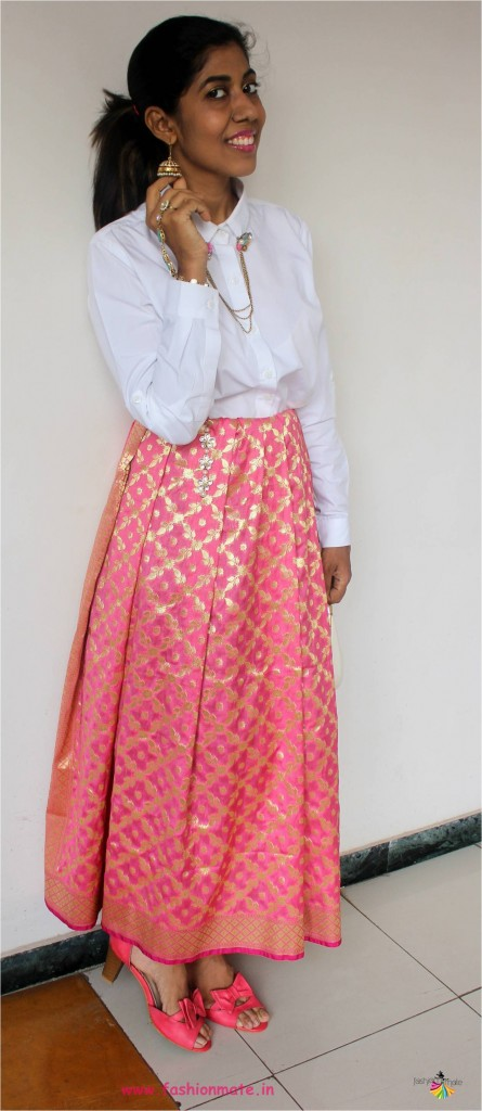 Indo-western festive outfit for Diwali brunch party - banarasi silk skirt 2017