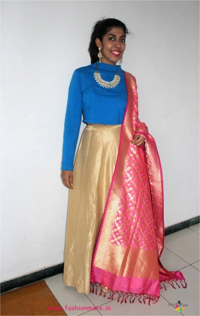 Indo-western look for Diwali - Croptop & Skirt