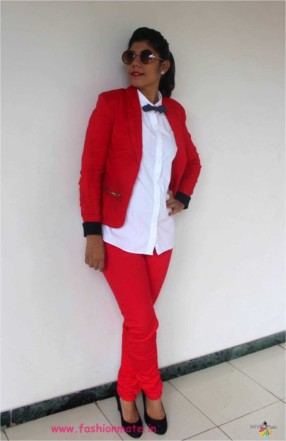 Red pant suit - Winter Fashion 2017 OOTD