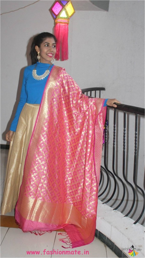 Use your crop top with festive skirt for a bridal lehenga