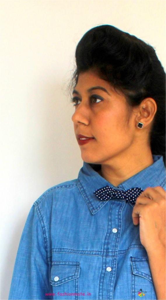 Work wear fashion- Bow-tie and denim shirt