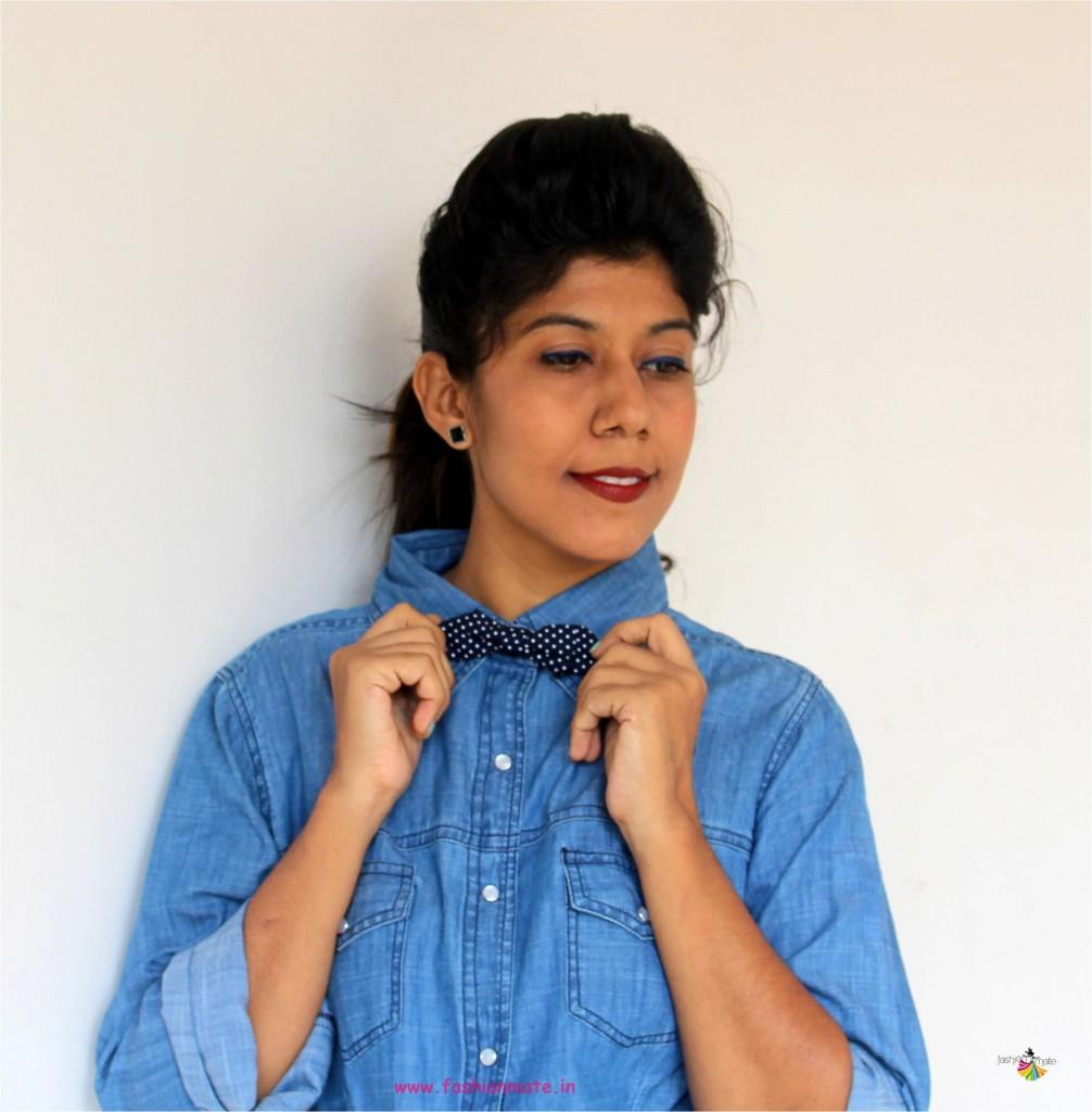 bowtie fashion for woman - Denim over Denim look