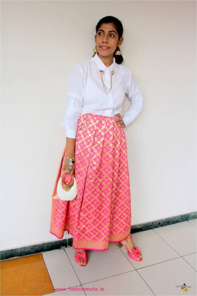 different ways to wear banarasi silk dupatta - indian fashion blogger