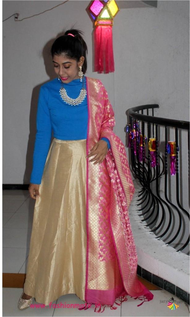 diwali 2017 card party outfit - DIY croptop lehenga
