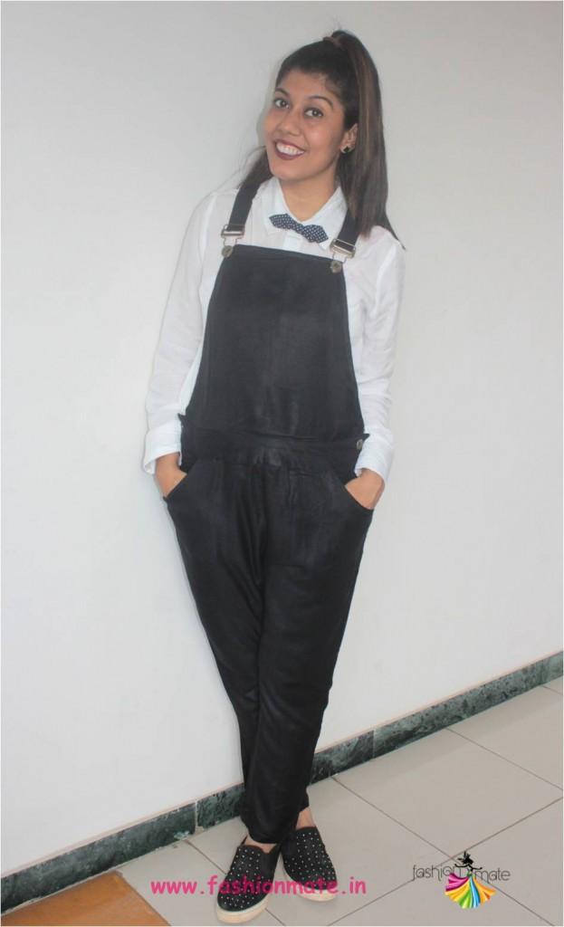 diy halloween costume black overalls and bowtie