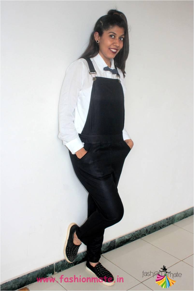 diy halloween ootd - Geek girl picasso admirer in black overalls