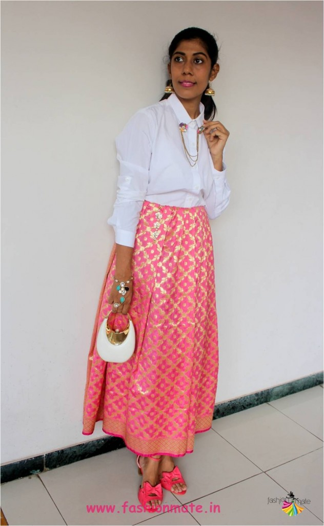 festive brunch outfit for Diwali house party - Skirt & Shirt