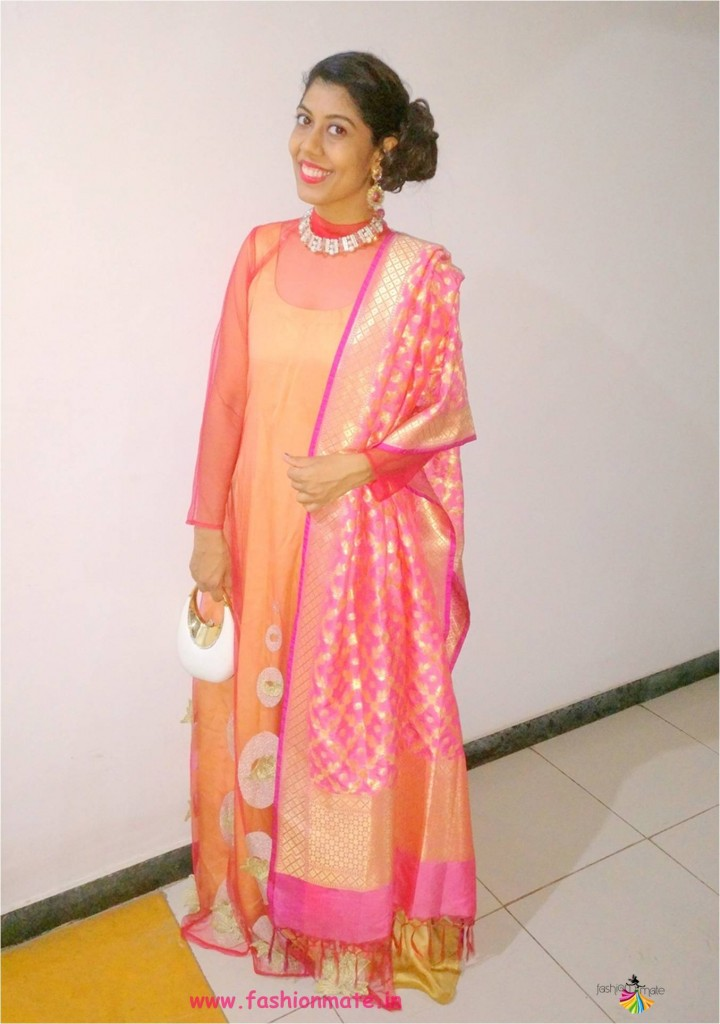 festive outfit- Floor length gown with banarasi dupatta