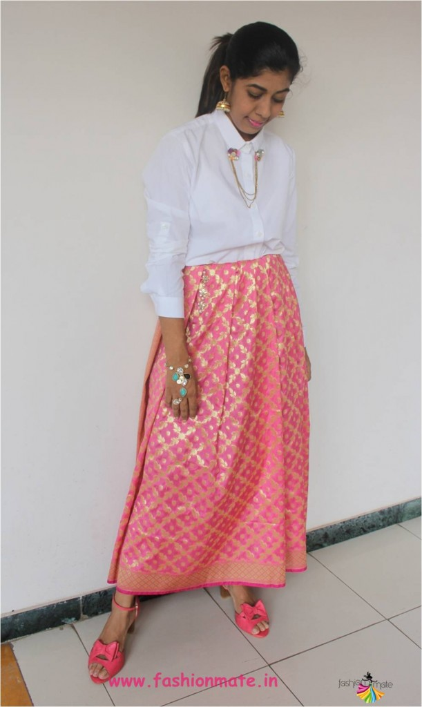 no sew DIY - Restyle your dupatta as Skirt - Indian fashion blog