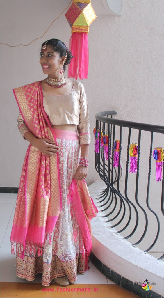 DIY bridal lehenga from net saree - restyle your outfit