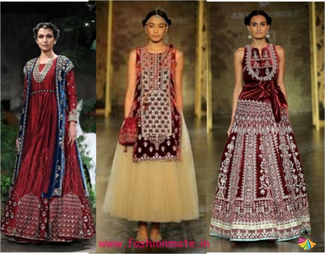Maroon velvet - Indian bridal couture fashion trends 2017