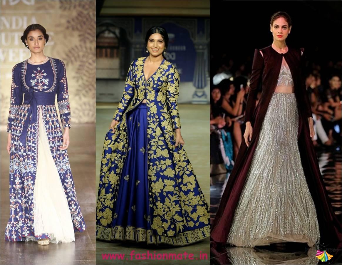 floor length jacket lehenga - latest bridal fashion trends india couture week 2017