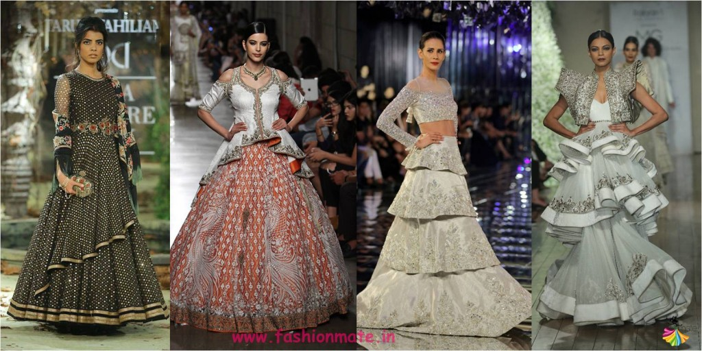 layered two three tier lehengas - India couture week bridal fashion trends 2017