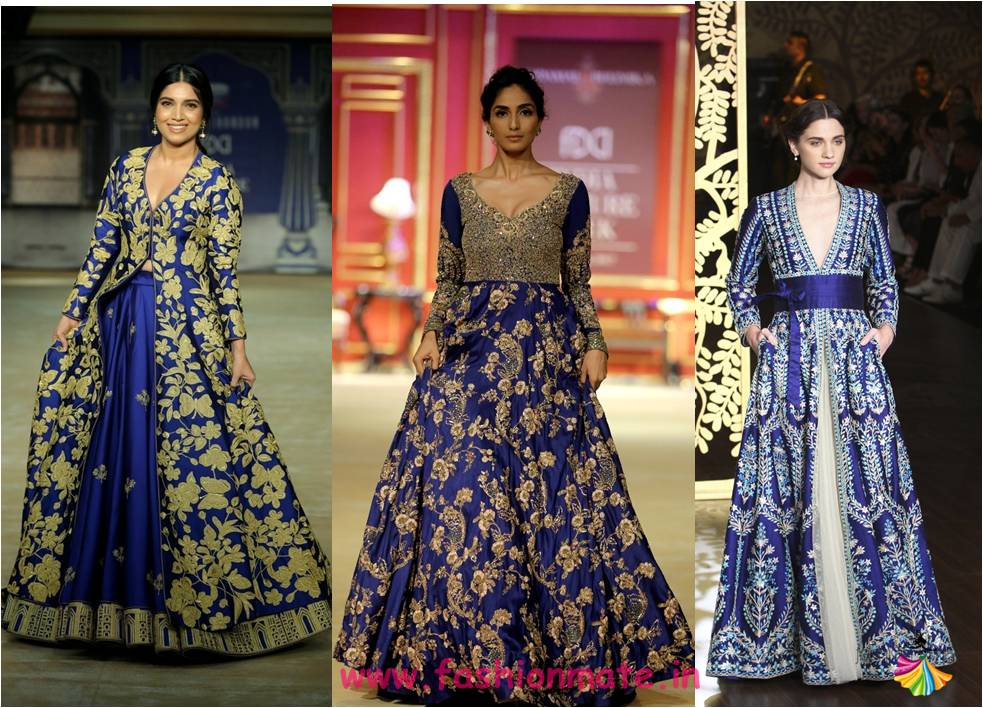royal blue - latest bridal lehenga designs and colours 2017