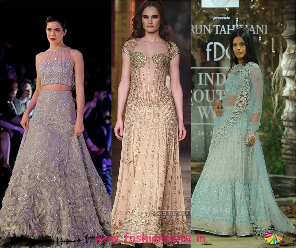 shimmer and sheer - sequin bridal fashion lehengas 2017